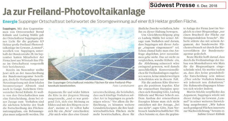 Südwest Presse 6. Dez. 2018  Ja zur Freiland-Photvoltaikanlage in Suppingen