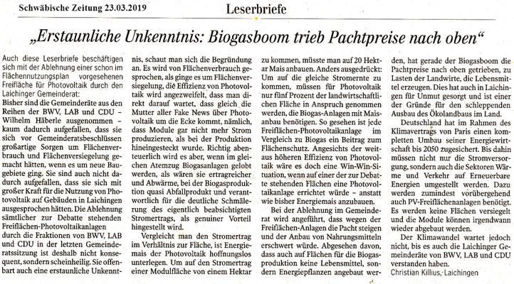 Schwäbische Zeitung 23.03.2019 Leserbriefe wg abgelehnter PV-Anlage in Laichingen