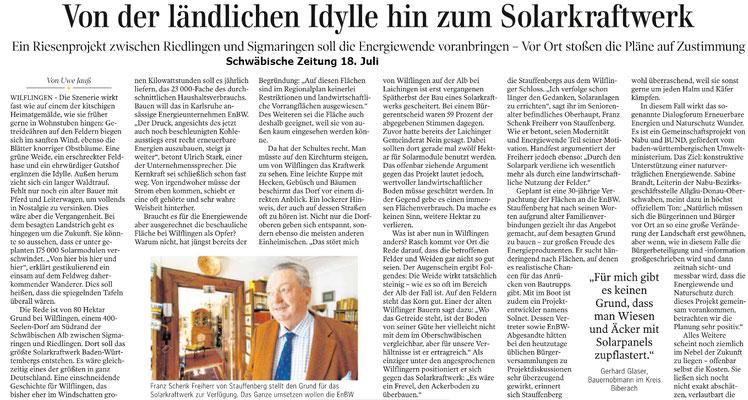 Solarkraftwerk: Schwäbische Zeitung 18. Juli 2020