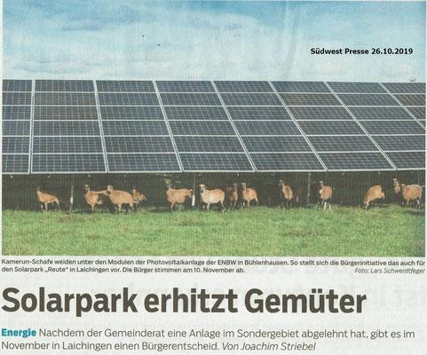 Südwest Presse 20191026 Solarpark erhitzt Gemüter