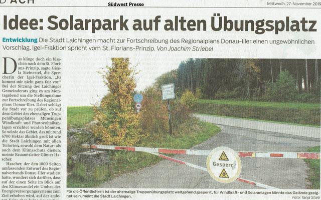 Südwest Presse 27.11.2019 Idee Solarpark auf alten Übungsplatz