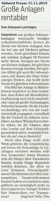 Südwest Presse 15.11.2019 Große Anlagen rentabler