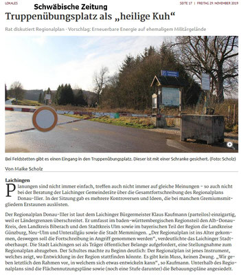 Schwäbische Zeitung 27.11.2019 Truppenübungsplatz als heilige Kuh