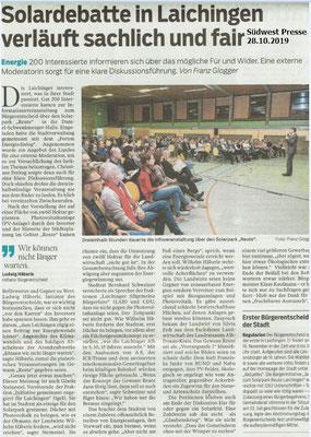 Südwest Presse 26.10.2019 Solardebatte in Laichingen verläuft sachlich und fair