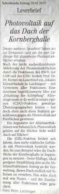 Schwäbische Zeitung 28.03.2019 Leserbriefe