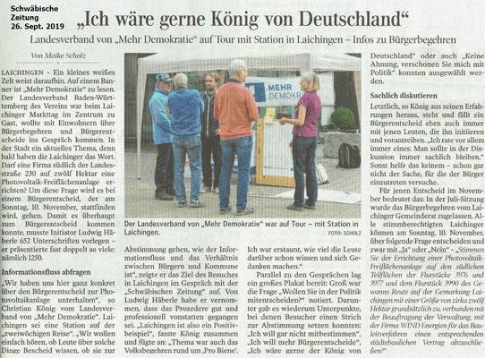 Schwäbische Zeitung 26.09.2019 Mehr Demokratie Bürgerentscheid