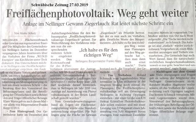 Schwäbische Zeitung 27.03.2019 Nellingen Freiflächen-PVAnlage