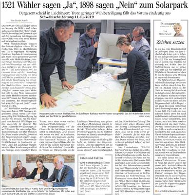 Schwäbische Zeitung 11. Nov. 2019 1321 Wähler sagen ja