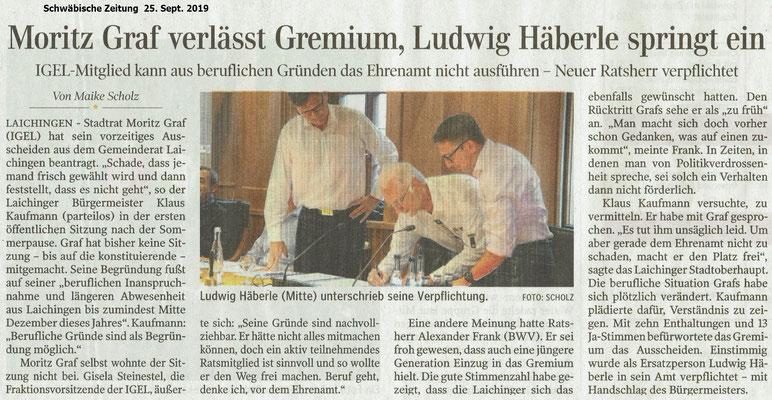 Bericht Schwäbische Zeitung 25. Sept. 2019 zum Wechsel im Gemeinderat Laichingen Ludwig Häberle springt ein