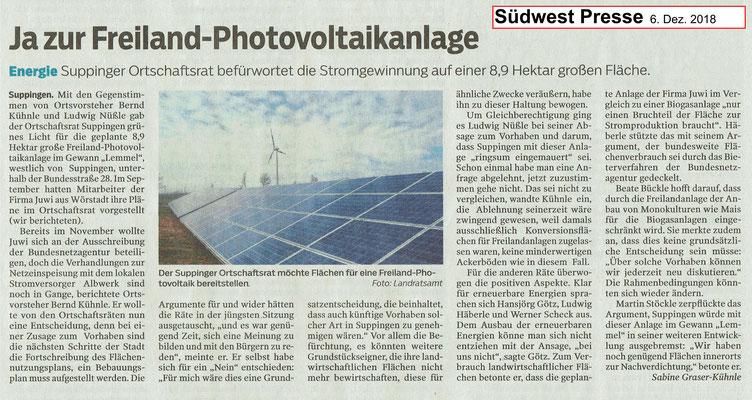 Südwest Presse 6. Dez. 2018 Freiland-Photovoltaikanlage in Suppingen Gewann Lemmel