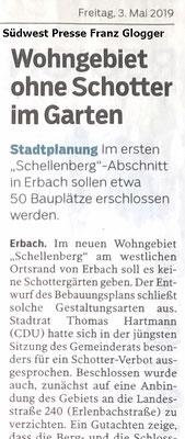 Südwest Presse 03.05.2019 Baugebiet ohne Schotter in Erbach