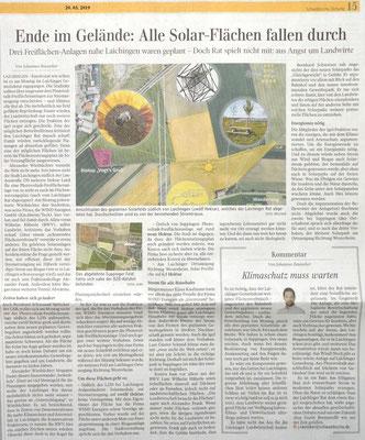 Schwäbische Zeitung 20.03.2019  Ende im Gelände: Alle Solar-Flächen fallen durch