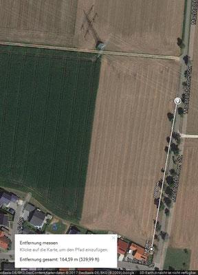 Quelle: Google mit Abstandsmessung entlang der Machtolsheimer Strasse 165 m