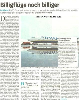 Südwest Presse 18. Mai 2019 Kommentar zur Billigflügen