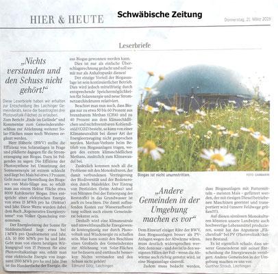 Schwäbische Zeitung 21.03.2019 Leserbriefe wg abgelehnter PV-Anlage in Laichingen