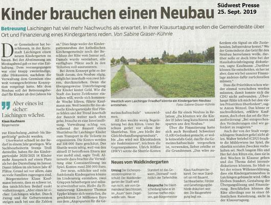 Bericht der Südwest Presse vom Kindergarten Neubau Laichingen 25. Sept. 2019