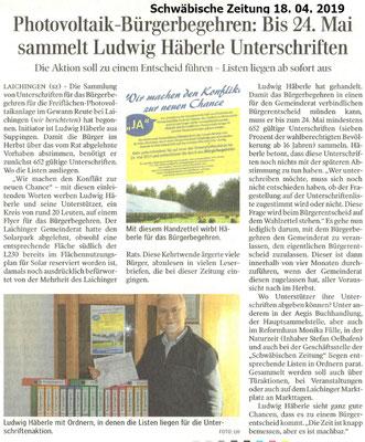Schwäbische Zeitung 18.04.2019 Photovoltaik-Bürgerbegehren
