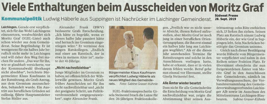 Viele Enthaltungen beim Ausscheiden von Moritz Graf Südwest Presse 28.09.2019