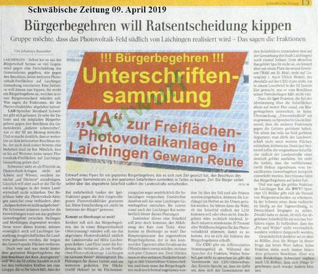 Bericht in der Schwäbischen Zeitung vom 09. April 2019