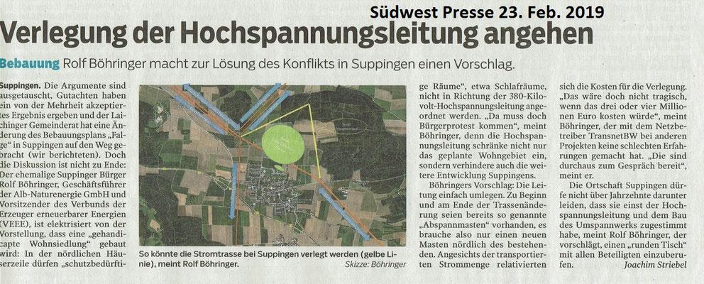 Südwest Presse 23. Februar 2019 Verlegung der Hochspannungsleitung bei Suppingen