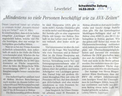 Schwäbische Zeitung 16.03.2019 Leserbrief wg Ansselms - Ansiedlung in Laichingen