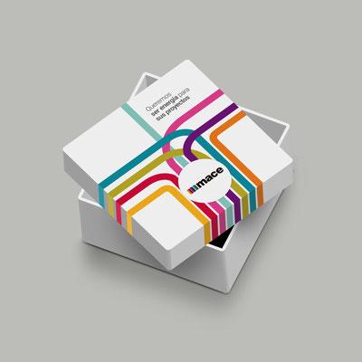 Diseño y producción de la caja contenedora de regalo promocional de Mace.