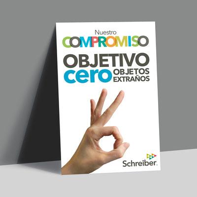 """Cartel para la campaña """"Objetivo cero objetos extraños"""" para sensibilizar y concienciar a los trabajadores de Schreiber Foods."""