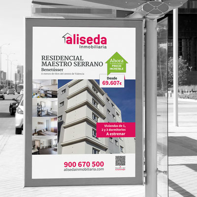 Mupi para la campaña venta de viviendas Aliseda.
