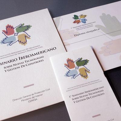 Carpeta, Tríptico y diploma para el Seminario Iberoamericano.