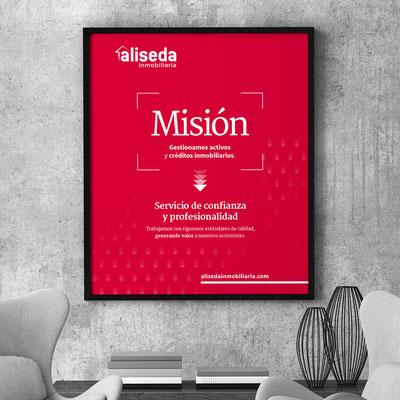 Cartel corporativo para las oficinas de Aliseda.