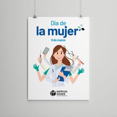 Cartel Día de la Mujer. 8 de Marzo. Nippon