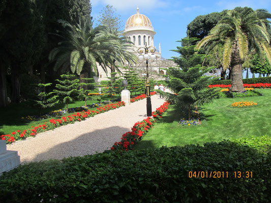 The shrine of Ba'ab in Baha'i gardens