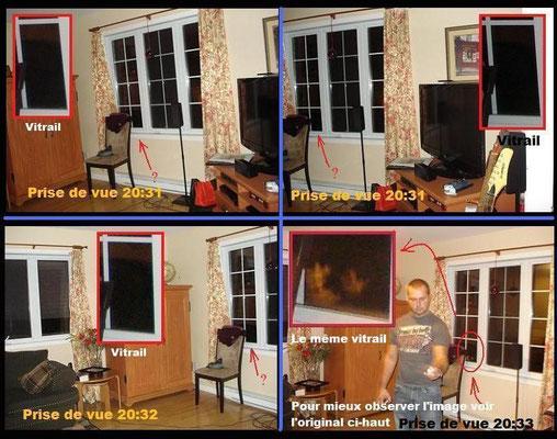 Ici, nous avons placé quatre photos prises à des angles similaires et à des temps différents. Observez le vitrail ! On y voit une apparition dans la prise de vues 20:33, mais sur les autres photos, aucune.