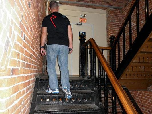 L'escalier central de la prison. Voir la prochaine photo en gros plan.