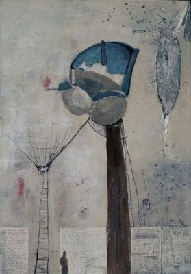 Anita Windhager - Aufschwung - Bild mit Kasein, Tusche und Buntstift auf Leinwand 80 x 100 cm, 2017.