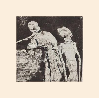 Anita Windhager: Karli, geh...... Monotypie auf 120jährigem mit Tinte in Kurrent beschriebenem Papier. 20 cm x 20 cm.