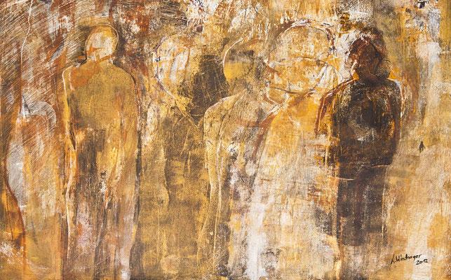 Anita Windhager - Auf dem Weg - Bild mit Kasein, gespachtelt und gekratzt. 80 x 100 cm.