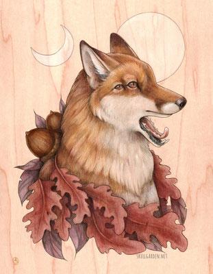 "Autumnal Fox. 9x12"" mixed media on wood. 2016."
