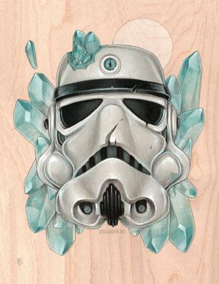 "Trooper. 11x14"" mixed media on wood. 2016."