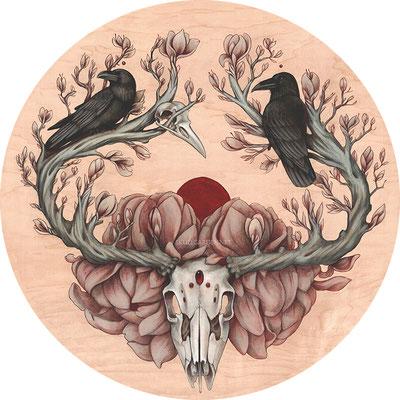 "Samsara. 20"" mixed media on wood. 2017."