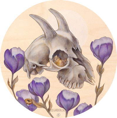 """Goat Skull with Poppies. 8"""" mixed media on wood. 2016."""