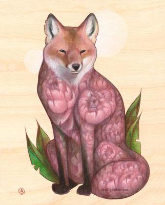"""Peony Fox. 6x8"""" mixed media on wood. 2016."""