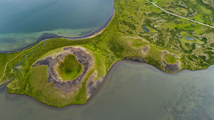 Pseudo craters at Myvatn lake (drone)