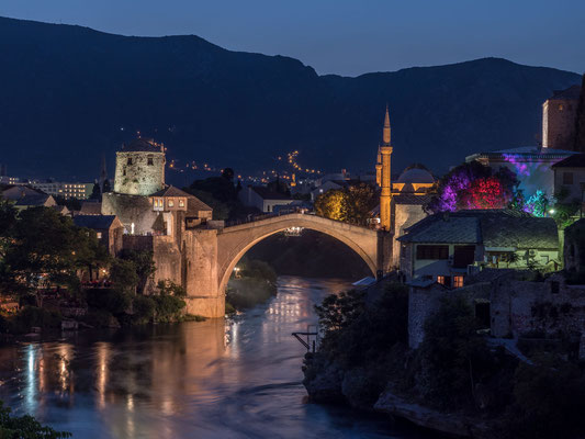 Mostar - Old bridge by night