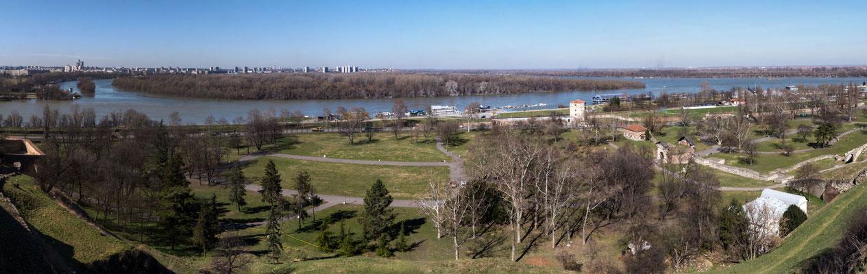 Danube river, view from Kalemegdan fortress, Belgrade