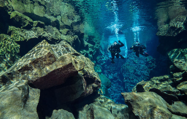 Diving Silfra fissure (unbelivable viz, but only 3C warm) between  American and Eurasian continental plates