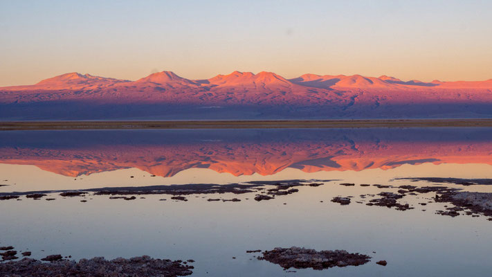Sunset at Laguna Tebenquiche, reflections of Andes, near San Pedro de Atacama [Chile, 2014]