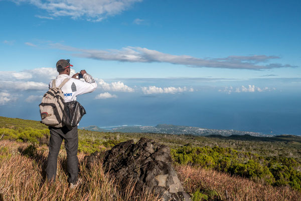 On the way to the top of Karthala volcano in Comores, view of capital Moroni