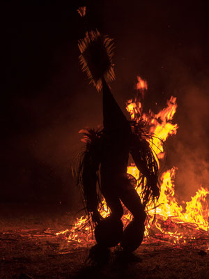 Fire dancer from Baining highland tribe