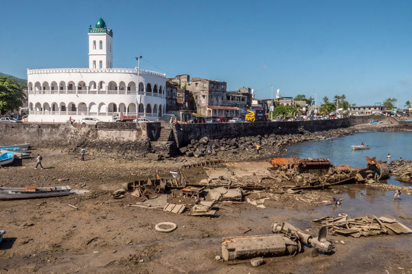15th century Mosque in Moroni, and shipwreck in front of it, Comores